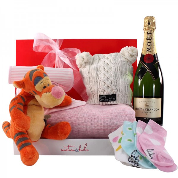 Gift Wrapped Up Baby Gift Hamper Pink Moet Moments