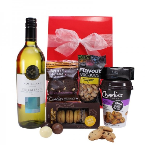 Gift Wrapped Up White Wine Hamper Yummy Treats
