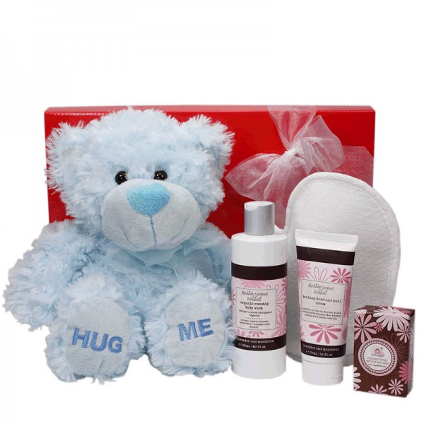 New Baby Gift Basket Brisbane : Mini pamper mother baby boy gift wrapped up