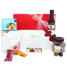 This hamper contains Chocolatier Chocolate and Duck Creek Macadamias and Random Havest Chocolate Sauce